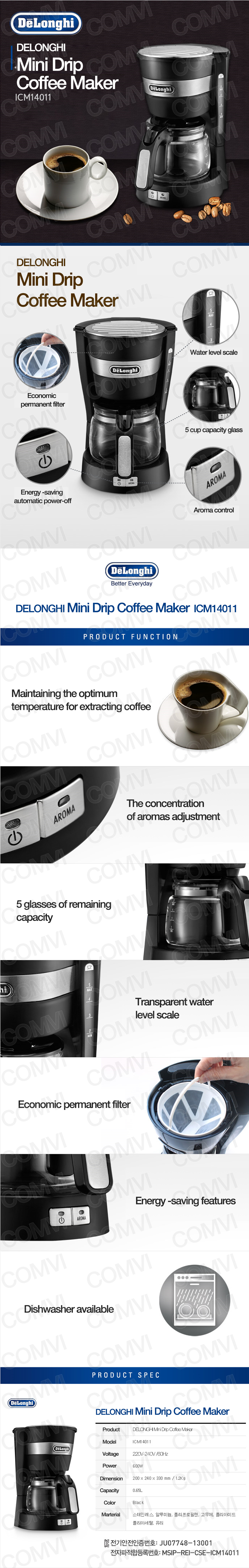 Mini Drip Coffee Maker : NEW DELONGHI Mini Drip Coffee Maker ICM14011 AROMA 650ml E