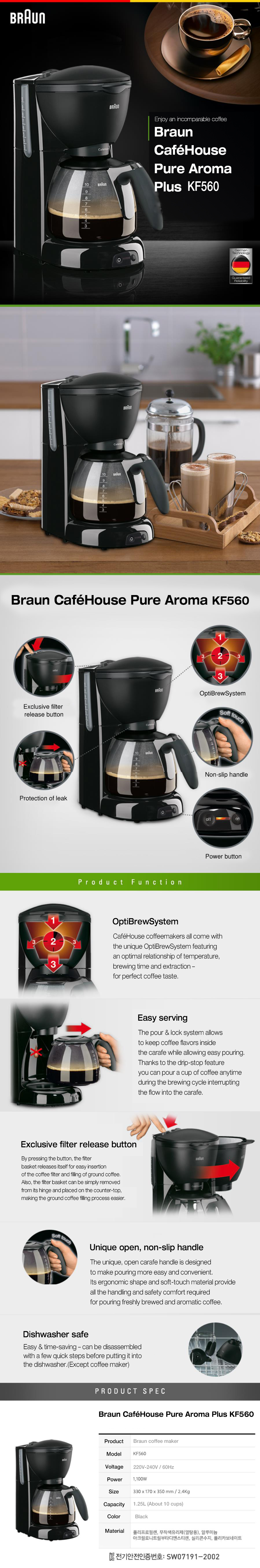 Braun Coffee Maker Kf560 : NEW BRAUN CAFE HOUSE Coffee Maker KF560 1.25L rapidity extraction Black eBay